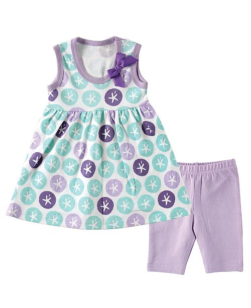 Hudson Baby Dress and Leggings, Purple Sand Dollar, 0-12 Months