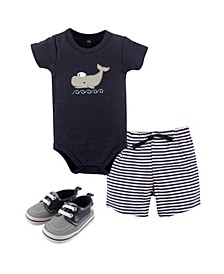 Bodysuits, Shorts and Shoes, 3-Piece Set,0-18 Months