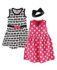 Hudson Baby Dresses and Headbands, 3-Piece Set, 0-24 Months