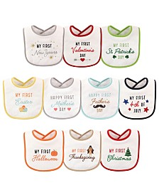 Hudson Baby Festive Holiday Bibs, 10-Pack, 10 Holidays, One Size