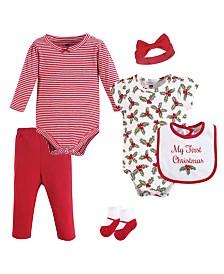 Hudson Baby Bodysuits, Pants, Socks, Bibs and Headbands, 6-Piece Set, 0-12 Months