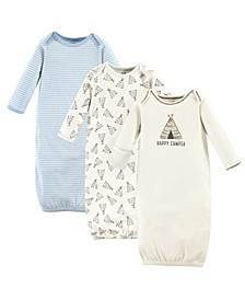 Organic Cotton Gowns, 3-Pack, 0-6 Months