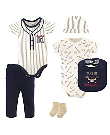 Little Treasure Bodysuits, Pants, Socks, Bibs and Cap, 6-Piece Set, 0-12 Months