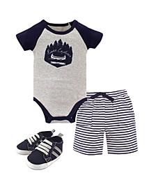 Bodysuits, Shorts and Shoes, 3-Piece Set, 0-18 Months