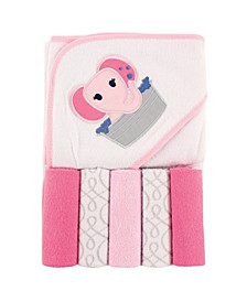 Hooded Towel with Washcloths, 6-Piece Set, One Size
