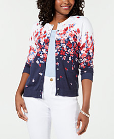 Karen Scott Long-Sleeve Floral-Print Cardigan, Created for Macy's