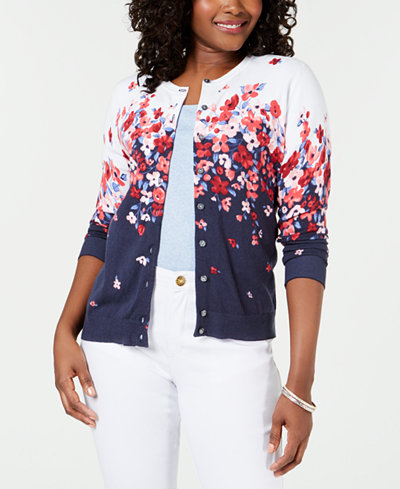 Karen Scott Long-Sleeve Floral-Print Cardigan, Created for Macy's