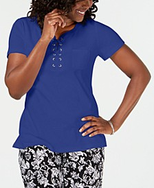 Cotton Lace-Up Neck Top, Created for Macy's