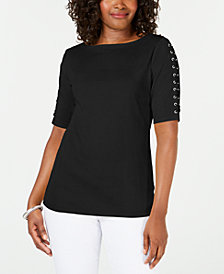 Karen Scott Plus Size Lace-Sleeve Cotton Top, Created for Macy's