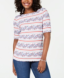 Karen Scott Petite Mixed-Print Elbow-Sleeve Top, Created for Macy's