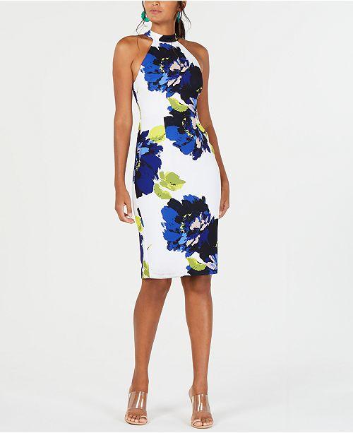 Trina Turk Apron-Neck Floral Bodycon Dress