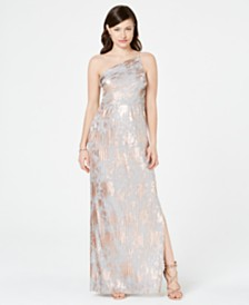 Adrianna Papell Metallic One-Shoulder Gown