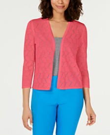 Charter Club Petite Pointelle Completer Cardigan Sweater, Created for Macy's