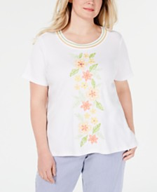Alfred Dunner Plus Size Endless Weekend Embellished Top