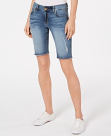 Kut from the Kloth Sophie Frayed-Hem Denim Bermuda Shorts