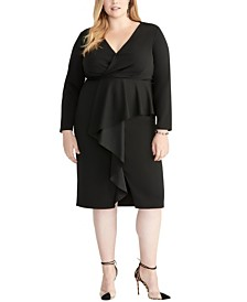 RACHEL Rachel Roy Plus Size Wrap Ruffle Front Dress