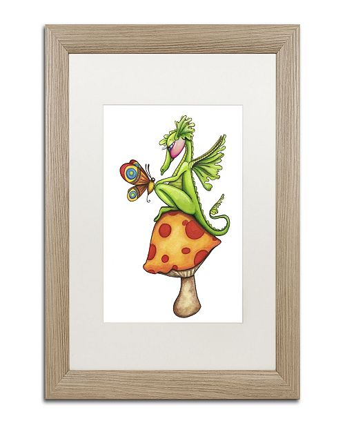 "Trademark Global Jennifer Nilsson Toadstool Sitter - Dragon Matted Framed Art - 11"" x 14"" x 0.5"""