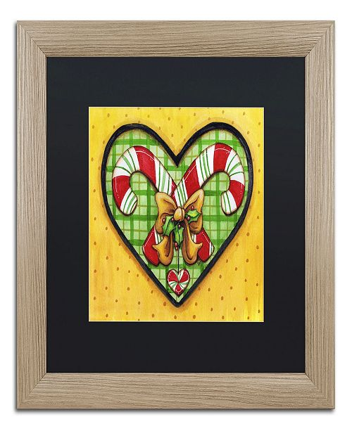 "Trademark Global Jennifer Nilsson Candy Cane Heart Matted Framed Art - 16"" x 20"" x 0.5"""