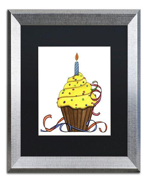 "Trademark Global Jennifer Nilsson Birthday Cupcake Matted Framed Art - 35"" x 47"" x 2"""