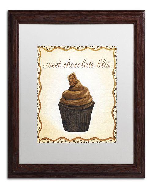 "Trademark Global Jennifer Nilsson Chocolate Cupcake Matted Framed Art - 24"" x 24"" x 2"""