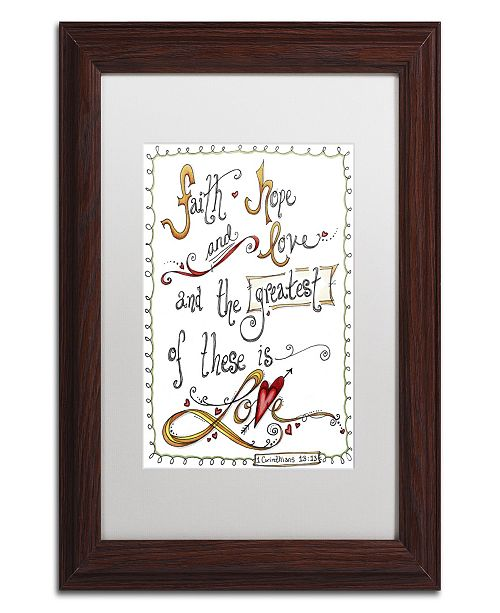 "Trademark Global Jennifer Nilsson Words of Love - Greatest of These Matted Framed Art - 11"" x 14"" x 0.5"""