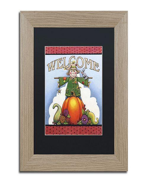 "Trademark Global Jennifer Nilsson Scarecrow Welcome Matted Framed Art - 16"" x 20"" x 0.5"""