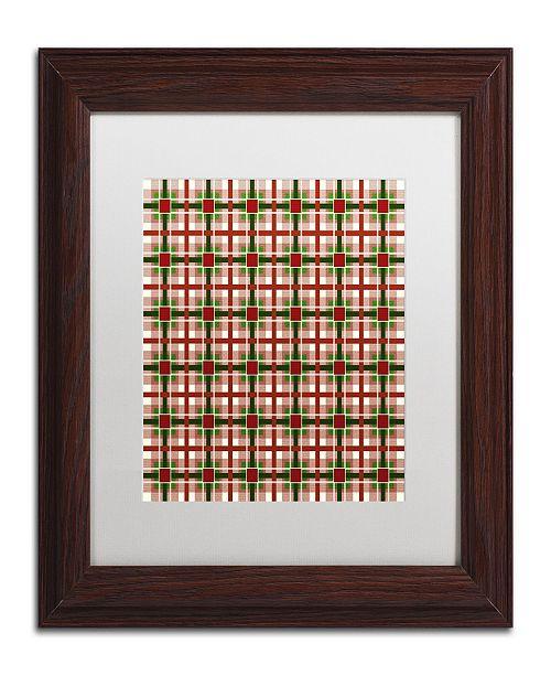 """Trademark Global Jennifer Nilsson Christmas Gingham 2 Matted Framed Art - 16"""" x 16"""" x 0.5"""""""