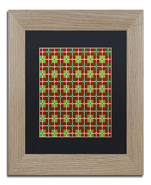 "Trademark Global Jennifer Nilsson Dotted Christmas Plaid 2 Matted Framed Art - 11"" x 11"" x 0.5"""