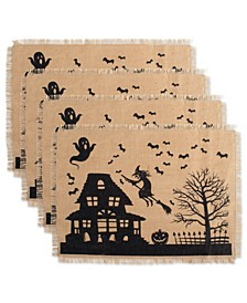 Haunted House Print Burlap Placemat, Set of 4