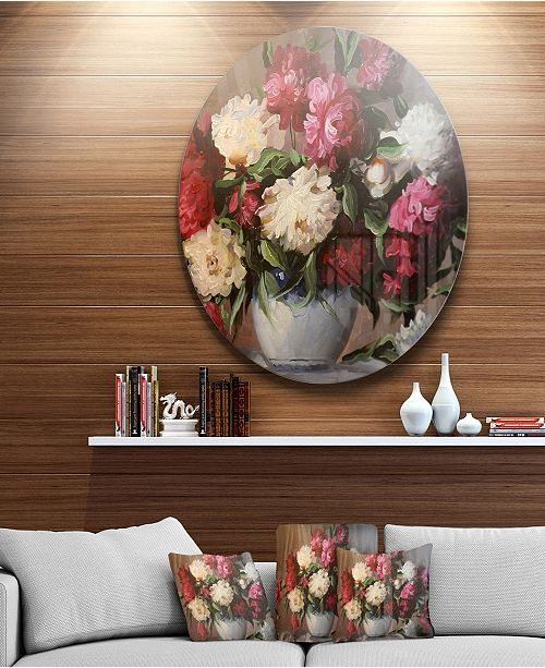 "Design Art Designart 'Bouquet Of Blooming Peonies' Ultra Glossy Floral Metal Circle Wall Art - 38"" x 38"""