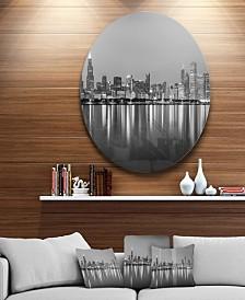 "Designart 'Chicago Skyline At Night Black And White' Ultra Glossy Cityscape Circle Wall Art - 23"" x 23"""