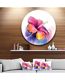 "Designart 'Red Yellow Hibiscus Flower In Blue' Large Flower Metal Circle Wall Art - 38"" x 38"""