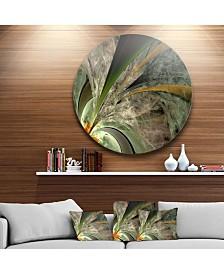 "Designart 'Symmetrical Fractal Flower In Green' Floral Metal Circle Wall Art - 23"" x 23"""