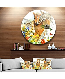 "Designart 'Horse And Foal With Flowers' Ultra Glossy Animal Oversized Metal Circle Wall Art - 23"" x 23"""