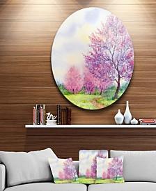 "Designart 'Purple Spring Landscape' Disc Floral Circle Metal Wall Art - 23"" x 23"""