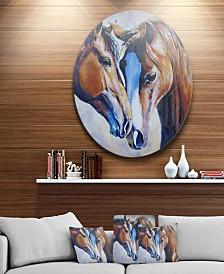"Designart 'Brown Amorous Horses' Animal Circle Metal Wall Art - 23"" x 23"""