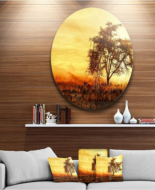 "Design Art Designart 'African Tree Silhouette' Landscape Photo Circle Metal Wall Art - 23"" x 23"""