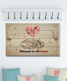 """Design Art 'Welcome to our home. Vintage drawing' Wood Wall Art - 40"""" x 20"""""""