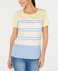 Karen Scott Petite Tish Striped Top, Created for Macy's
