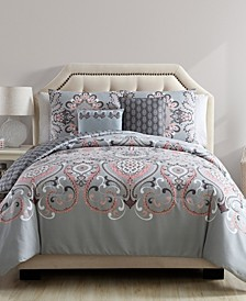 Amherst Reversible Damask 5 Piece Comforter Set, King