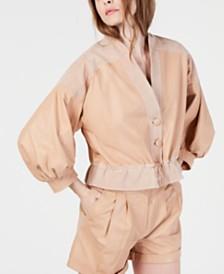 Rachel Zoe Celine Leather Suede-Trim Jacket