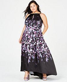 Morgan & Company Trendy Plus Size Mikado Floral-Print Gown