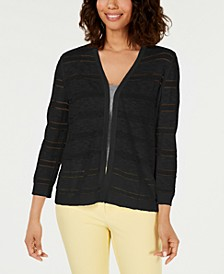 Pointelle-Striped Cardigan, Created for Macy's