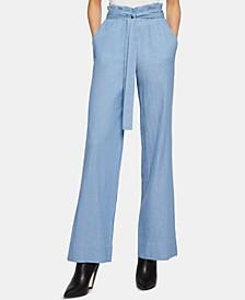 Paperbag-Waist Wide-Leg Crinkle Pants