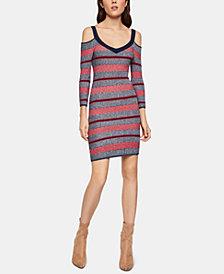 BCBGeneration Striped Cold-Shoulder Sheath Dress
