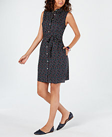 Tommy Hilfiger Cotton Polka Dot Shirtdress