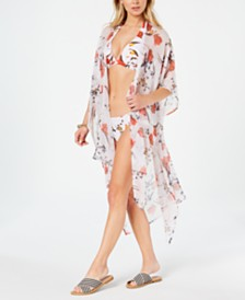 RACHEL Rachel Roy Tossed-Meadow Printed Side-Slit Kimono Cover-Up