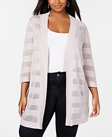 Plus Size Mesh & Metallic Stripe Duster Cardigan