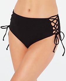RACHEL Rachel Roy Solid Textured Lace-Up High-Waist Bikini Bottoms