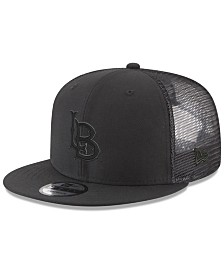 New Era Long Beach State 49ers Black on Black Meshback Snapback Cap